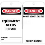 "NMC RPT106 Tags, Equipment Needs Repair, 6"" X 3"", White/Red/Black, 25/Pk"