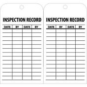 "NMC RPT112 Tags, Inspection Record, 6"" X 3"", White/Black, 25/Pk"