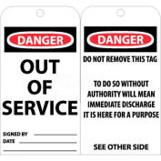 """NMC RPT146 Tags, Out Of Service, 6"""" X 3"""", White/Red/Black, 25/Pk"""