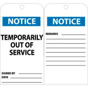 "NMC RPT148 Tags, Temporarily Out Of Service, 6"" X 3"", White/Blue, 25/Pk"