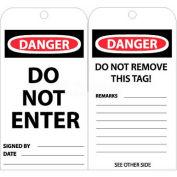 """NMC RPT161 Tags, Do Not Enter, 6"""" X 3"""", White/Red/Black, 25/Pk"""