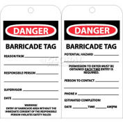 "NMC RPT172 Tags, Danger Barricade Tag, 6"" X 3"", White/Red/Black, 25/Pk"