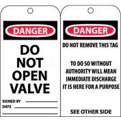 """NMC RPT18 Tags, Danger Do Not Open Valve, 6"""" X 3"""", White/Red/Black, 25/Pk"""