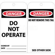 """NMC RPT1AG Tags, Danger Do Not Operate, 6"""" X 3"""", White/Red/Black, 25/Pk"""