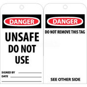 """NMC RPT34 Tags, Danger Unsafe Do Not Use Operate, 6"""" X 3"""", White/Red/Black, 25/Pk"""