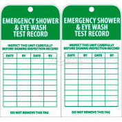 "NMC RPT37 Tags, Emergency Shower And Eye Wash Test Record, 6"" X 3"", White/Green, 25/Pk"