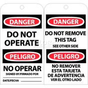 "NMC RPT90 Tags, Bilingual Lock Out Tag, 6"" X 3"", White/Red/Black, 25/Pk"