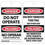 "NMC RPT90 Tags, Bilingual Lock Out Tag, 6"" X 3"", White/Red/Black, 25/Pk"