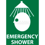 """NMC S54R See Sign, Emergency Shower, 7"""" X 7"""", White/Green"""