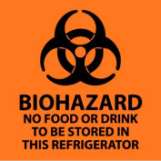 """Warning Sign, Biohazard No Food Or Drink To Be Stored In This Refrigerator, 7"""" X 7"""", Orange/Black"""