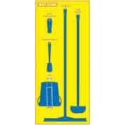 National Marker Wet Zone Shadow Board, Yellow/Blue,68 X 30, ACP, Aluminum Composite Panel - SB123ACP
