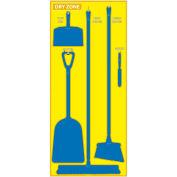 National Marker Dry Zone Shadow Board, Yellow/Blue,68 X 30, ACP, Aluminum Composite Panel - SB139ACP