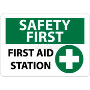 "NMC SF161RB OSHA Sign, Safety First - First Aid Station, 10"" X 14"", White/Green/Black"