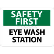 "NMC SF181PB OSHA Sign, Safety First - Eye Wash Station, 10"" X 14"", White/Green/Black"