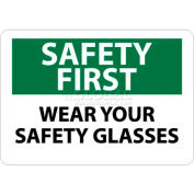 "NMC SF39RB OSHA Sign, Safety First - Wear Your Safety Glasses, 10"" X 14"", White/Green/Black"