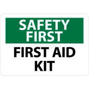 "NMC SF41R OSHA Sign, Safety First - First Aid Kit, 7"" X 10"", White/Green/Black"