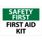 "NMC SF41RB OSHA Sign, Safety First - First Aid Kit, 10"" X 14"", White/Green/Black"