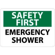 "NMC SF43RB OSHA Sign, Safety First - Emergency Shower, 10"" X 14"", White/Green/Black"