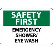 "NMC SF45R OSHA Sign, Safety First - Emergency Shower/Eye Wash, 7"" X 10"", White/Green/Black"