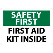 """NMC SF47RB OSHA Sign, Safety First - First Aid Kit Inside, 10"""" X 14"""", White/Green/Black"""