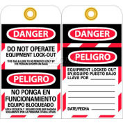 """NMC SPLOTAG11-25 Tags, Do Not Operate Equipment Lock Out, Bilingual, 6"""" X 3"""", White/Red/Black, 25/Pk"""