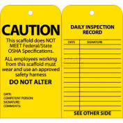 "NMC SPT2 Tags, Scaffold Inspection W/Grommet, 6"" X 3"", Yellow, 25/Pk"