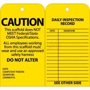 "NMC SPT2 Tags, Scaffold Inspection W/Grommet, 6"" X 3"", Yellow, 25/Pk"