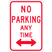 "NMC TM016J Traffic Sign, No Parking Any Time With Double Arrow, 18"" X 12"", White"