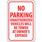 "NMC TM12G Traffic Sign, No Parking Unauthorized Vehicles Will Be Towed, 18"" X 12"", White/Red"