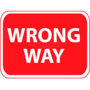 "NMC TM133J Traffic Sign, Wrong Way, 18"" X 24"", White/Red"