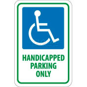 "NMC TM145J Traffic Sign, Handicapped Parking Only, 18"" X 12"", White/Blue/Green"