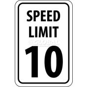 "NMC TM18G Traffic Sign, 10 MPH Speed Limit Sign, 18"" X 12"", White/Black"