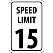 "NMC TM19H Traffic Sign, 15 MPH Speed Limit Sign, 18"" X 12"", White/Black"