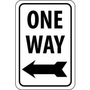 "NMC TM22G Traffic Sign, One Way With Left Arrow, 18"" X 12"", White/Black"