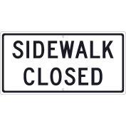 "NMC TM516J Traffic Sign, Sidewalk Closed, 12"" X 24"", White"