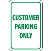 "NMC TM51G Traffic Sign, Customer Parking Only, 18"" X 12"", White/Green"