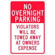"NMC TN57G Traffic Sign - No Overnight Parking , Aluminum, 18"" x 12"""