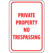 "NMC TM59G Traffic Sign, Private Property No Trespassing, 18"" X 12"", White/Red"