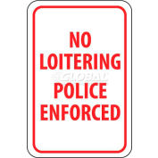 "NMC TM63G Traffic Sign, No Loitering Police Enforced, 18"" X 12"", White/Red"