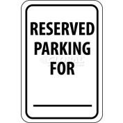 "NMC TM6G Traffic Sign, Reserved Parking For, 18"" X 12"", White/Black"