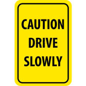 "NMC TM72H Traffic Sign, Caution Drive Slowly, 18"" X 12"", Yellow/Black"