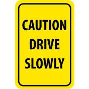 "NMC TM72H Traffic Sign, Caution Drive Slowly, 18"" X 12"", Yellow/Black"