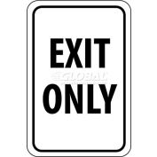 "NMC TM76G Traffic Sign, Exit Only, 18"" X 12"", White/Black"