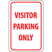 "NMC TM7G Traffic Sign, Visitor Parking Only, 18"" X 12"", White/Red"