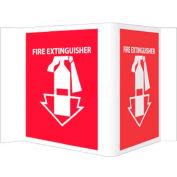"NMC VS1R Visi Sign W/Graphic, Fire Extinguisher, 5-3/4"" X 8-3/4"", White/Red"