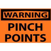 "NMC W149AP OSHA Sign, Warning Pinch Points, 3"" X 5"", Orange/Black"