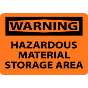 "NMC W285RB OSHA Sign, Warning Hazardous Material Storage Area, 10"" X 14"", Orange/Black"