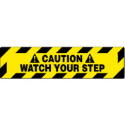"NMC WFS625 Walk On Floor Sign, Caution Watch Your Step, 6"" X 24"", Yellow/Black"
