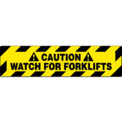 "NMC WFS629 Walk On Floor Sign, Caution Watch For Forklifts, 6"" X 24"", Yellow/Black"