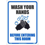Wash your Hands Before Entering this Room Sign, 10 X 14, Plastic